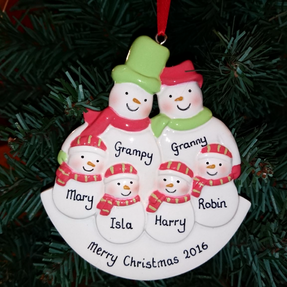 Personalised Snowman Family of 6